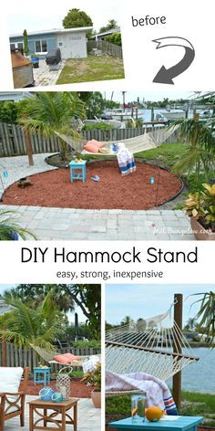 Tutorial on how to build a hammock stand from posts. This is an easy strong and inexpensive hammock stand to hold two people. Finish in an afternoon.