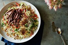 One Night in Bangkok Salad Recipe on Food52, a recipe on Food52 One Night In Bangkok, Fish Sauce, Edible Flowers, Food 52, Japchae, First Night, Salad Recipes, Side Dishes, Cabbage