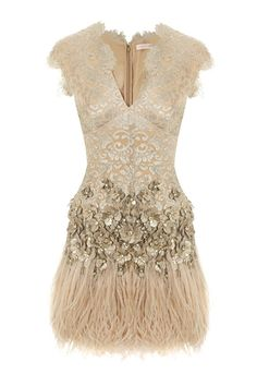 this Matthew Williamson number has it all - lace, feathers, sequins