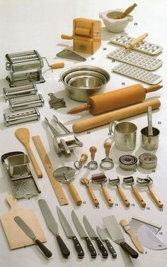 The pasta maker's equipment.,The pasta maker's equipment. Vital kitchen gadgets for every single need You will find kitchen gadgets in most kitchen, because without them it woul. Kitchen Supplies, Kitchen Items, Kitchen Utensils, Baking Utensils, Kitchen Appliances, Cooking Equipment, Kitchen Equipment, Cool Kitchen Gadgets, Cool Kitchens