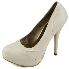 Save 10% + Free Shipping Offer * | Coupon Code: Pinterest10 Material: Man Made Material Heel Height: 5.25 inches, 1.5 inch platform Round Almond Toe Platform Pumps Product Code: Abby-06 Nude Great with summer floral outfits, or with skirt. Round toe front opening, featuring patent and leather PU material, Two Toned stiletto pumps. Shinny glossy lightly padded insole. Women's Modesta Abby-06 Nude Patent PU Leather Platform Pumps