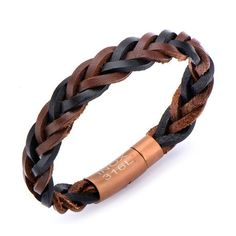 Braided Leather Bracelet // Black + Brown