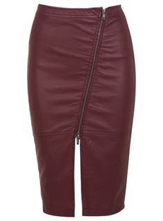 Leather Effect Burgundy Skirt. I'd want this in actual leather.