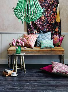 Beautiful sitting nook with different floral patterns
