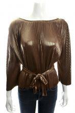 Halston Heritage Gold Pleated Blouse Size 6 $89.00