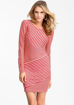 bebe Mixed Stripe Long Sleeve Dress « Clothing Adds Anytime