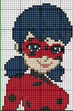 , , Miraculous: Tales Of Ladybug And Cat Noir Cross Stitch Rose, Cross Stitch Baby, Disney Cross Stitch Patterns, Cross Stitch Designs, Image Pixel Art, Ladybug And Cat Noir, Modele Pixel Art, Pixel Drawing, Lady Bug