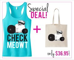 CHECK MEOWT #Workout #Tank Top & #Tote Special Deal -- By #NobullWomanApparel, for only $36.95! Click here to buy http://nobullwoman-apparel.com/collections/sale-special-deals/products/check-meowt-workout-tank-top-tote-special-deal