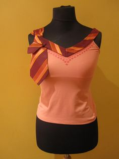 Repurposed Necktie Upcycled Camisole in Coral Pink - Womens Upcycled Clothing. $30.00, via Etsy.