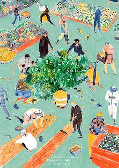 "Mouni Feddag illustration- ""Be loyal to your soil- compost!"""