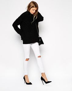 ripped jeans asos black turtleneck knitwear