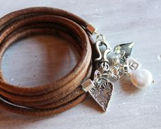 Leather+Wrap+bracelet+with+silver+hearts+++by+ChickpeaDesignStudio,+$79.00