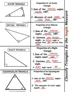 This is a foldable activity to classify triangles by Angle Measure, Side Lengths and their characteristics. Triangle Math, Triangle Angles, Triangle Worksheet, Right Triangle, Finding Missing Angles Worksheet, Fifth Grade Math, Fourth Grade, Third Grade
