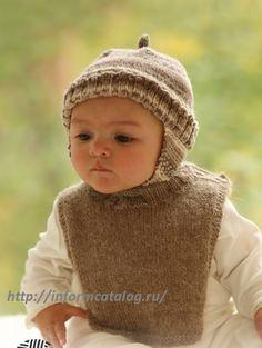 детская шапка и детский воротник спицами
