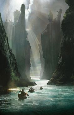 "NOT THE YANGTZE RIVER, CHINA >>> This is definitely Lord of the Rings concept art. I believe this one is ""The Gates of Argonath"" by Craig Mullins."