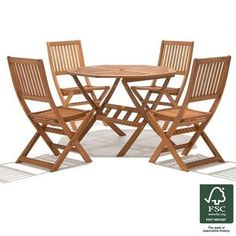 Garden Furniture 4 Seater peru 4 seater wooden garden furniture set with folding armchairs