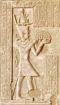 Ptolemy VIII Euergetes II Greeting Sobek-Re, Hathor and Horus. Kom Ombo Temple Egypt