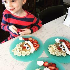 Santa pancakes. Kids breakfast fun. Animal pancakes. Christmas. Ho ho ho