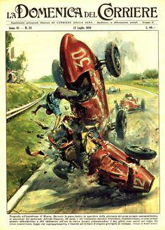 1959 Racing Crash Art Editorial