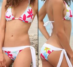 Sexy Bikini zum Binden Rot Weiss grosse bunte Blumen S/M 36/38