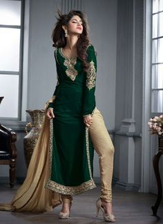 http://www.sareesaga.in/index.php?route=product/product&product_id=24837 Work	:	Embroidered Resham Work Zari Work Lace	Style	:	Churidar Suit Shipping Time	:	10 to 12 Days	Occasion	:	Party Festival Reception Fabric	:	Velvet	Colour	:	Green For Inquiry Or Any Query Related To Product, Contact :- +91-9825192886, +91-7405449283