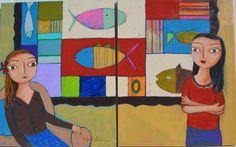 """Aqui estão duas telas que pintei  recentemente: """"Mocinhas"""". Aqui, as duas telas juntas, perto uma da outra, formando o """"duo"""".  As telas foram morar numa parede lá no Rio de Janeiro...    Técnica: acrílico e pastel oleoso sobre tela painel."""