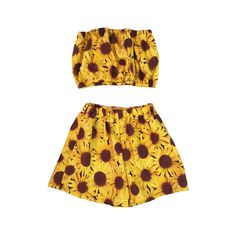 Sunflower Co-ord Two Piece Top Shorts Beach by KARIZMAlondon