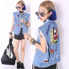Find More Information about 2015 women high street patch designs Turn down Collar Rivet Sleeveless Light Blue hole Denim Vest Jacket Jeans Women coat,High Quality jean washes,China jeans colors Suppliers, Cheap jean distributor from Sexy Bar on Aliexpress.com