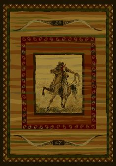 """Bring #western style to your home with this unique #Horse Area #Rug """"Rawhide Lodge""""."""