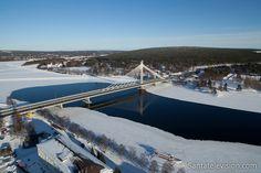O centro da cidade de Rovaniemi (Finlândia), visto do céu