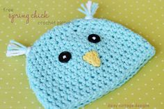 Free crochet pattern: Spring Chick Hat for newborn by Daisy Cottage Designs