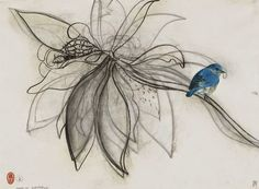 Brett Whiteley (Australian, Magnolia and Bird, Charcoal and collage on paper, 56 x 76 cm. Australian Painting, Australian Birds, Australian Artists, Australian Authors, Painting Prints, Painting & Drawing, Paintings, Art Sketches, Art Drawings
