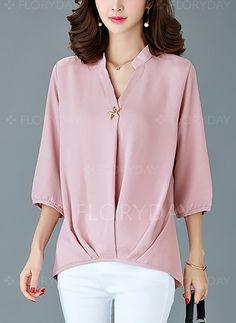 8ce5a36da910 Baumwolle Solide V-Ausschnitt 3 4 Ärmel Lässige Kleidung T-Shirt