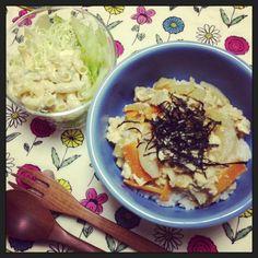 いつかの彼氏さんの晩ごはん。急に晩ごはんいると言うから親子丼作りました。 - 4件のもぐもぐ - 親子丼とマカロニサラダ by chibinami36