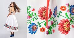 Krótka suknia ślubna zdobiona haftami inspirowanymi wycinanką łowicką | NaLudowo.pl - Folklor, Etno Design, Kultura Ludowa