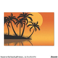 """Sunset at the beach gift tissue paper 10"""" x 15"""" tissue paper"""