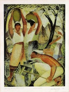 Artwork by Anita Magsaysay-Ho, Water Carriers, Made of Serigraph Painting & Drawing, Drawings, Water, Artist, Artwork, Gripe Water, Work Of Art, Auguste Rodin Artwork, Artists