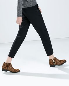 PRINTED LEATHER BOOTIES-Ankle boots-Shoes-TRF | ZARA United States
