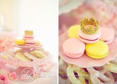 French macarons were adorned with crowns made out of ribbon.  Chocolate covered pretzels are a must!