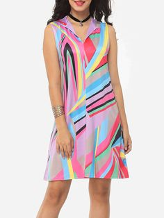 Assorted Colors Geometric Patchwork Printed Stripes Charming Band Collar Shift-dress