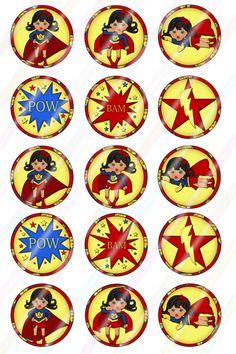 Super Kid Girls 2 Digital Download 1 Inch Bottle Caps by MaddieZee, $1.75