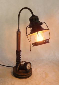 OOAK Steampunk LAMP machine age UPCYCLED by steampunkmountain