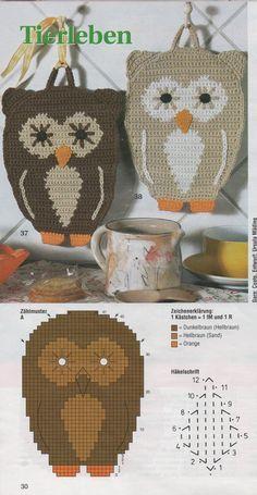Leuke Pannenlap haken met diagram / would this not make a wonderful purse? Crochet Owls, Crochet Potholders, Crochet Animals, Crochet Motif, Knit Crochet, Crochet Patterns, Free Crochet, Knitting Projects, Crochet Projects