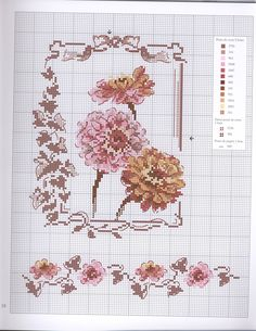 Just Cross Stitch, Cross Stitch Borders, Cross Stitch Flowers, Cross Stitch Charts, Cross Stitch Designs, Cross Stitching, Cross Stitch Embroidery, Embroidery Patterns, Cross Stitch Patterns