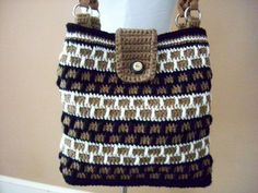 bag-o-day crochet bag pocket stitch | Crocheted Cream, Light Brown and Black Brick Stitch Tote / Bag / Purse ...