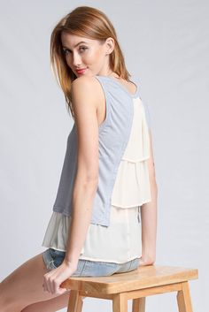 blue tank top w/ cream ruffle back @cboutiq
