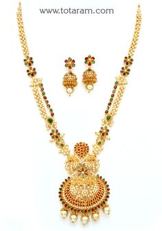 22K Gold 'Peacock' Long Necklace & Drop Earrings Set with Ruby - GS2689 - Indian Jewelry Designs from Totaram Jewelers