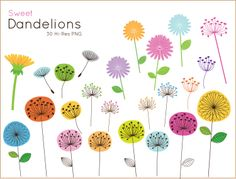 Sweet Dandelion clip art for personal and commercial use ( cute flower clipart ) INSTANT DOWNLOAD. $4.95, via Etsy.