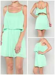 Flirty Mint Dress-This is so perfect for Spring! OMG MINT! Id probably wear a tank top under it though because of the back.