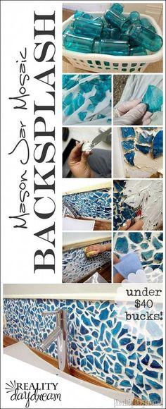 "DIY Mason Jar Mosaic Backsplash Tutorial... everything for under $40 bucks! Reality Daydream #""cheaphomedecordiy"""